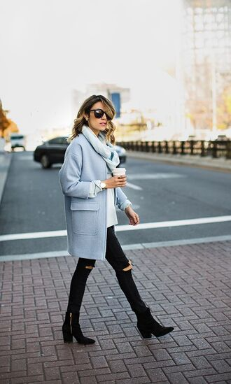 coat tumblr blue coat pastel coat baby blue pastel blue fuzzy coat fluffy jeans black jeans black ripped jeans ripped jeans sunglasses boots black boots ankle boots mid heel boots winter outfits winter look winter coat blue fluffy coat