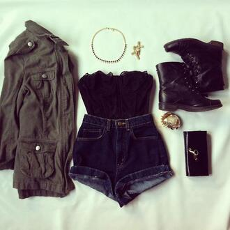 jacket lace crop top high waisted shorts army green jacket leather ankle boots cross earring black clutch cute shoes underwear coat