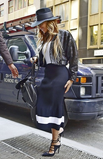skirt midi skirt beyonce jacket pumps hat spring outfits