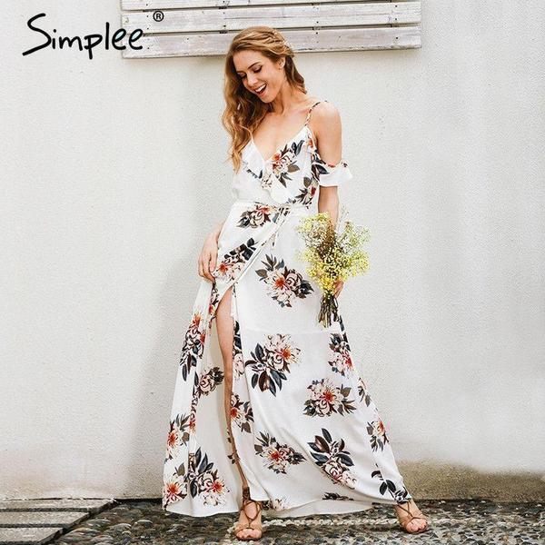 Floral print ruffles chiffon dress
