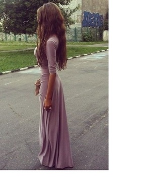 dress maxi maxi dress 3/4 sleeve purple nude lilac chiffon silk long dress three-quarter sleeves floor-length