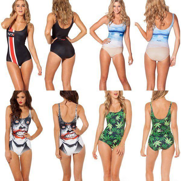 Sexy galaxy space print digital pattern swimwear one