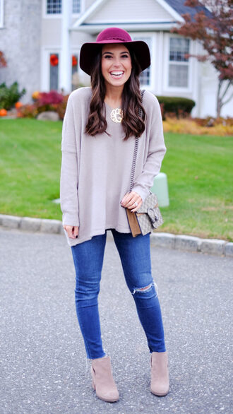 mrscasual blogger sweater hat jeans shoes bag jewels felt hat gucci bag ankle boots grey sweater