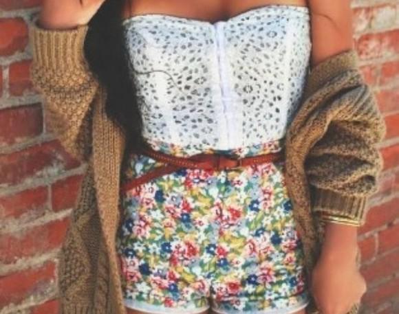 High waisted shorts floral shorts