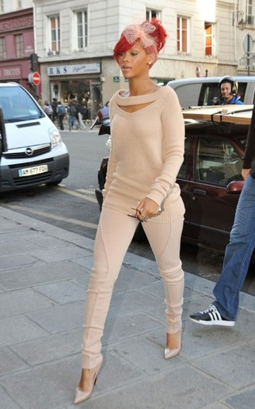 cream jeans nude sweater skinny pants pants