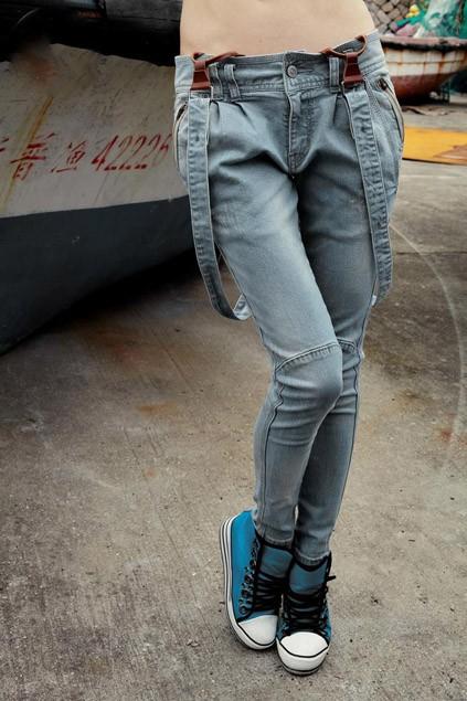 Slim Fit Jeans with Shoulder Strap - OASAP.com