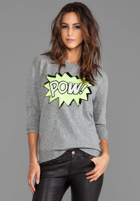 AUTUMN CASHMERE POW Intarsia Boyfriend Crew Sweater in Cement/Day Glo/Black/Winter White at Revolve Clothing - Free Shipping!