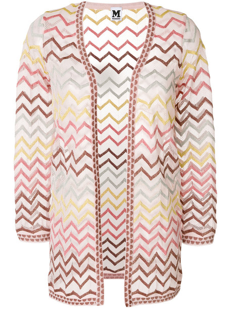 M Missoni cardigan cardigan open metallic women cotton purple pink sweater