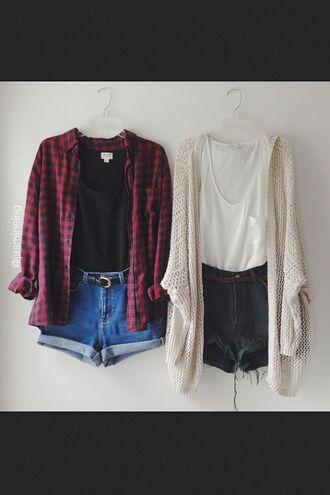 shirt hipster cardigan plaid white jacket tank top blouse flannel red and black denim shorts grunge high-wasted denim shorts soft grunge shorts high waisted black shorts denim jeans black blue belt vintage red top creamy oversized cardigan white t-shirt oversized t-shirt