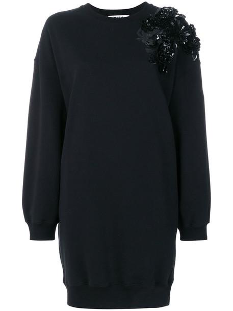 MSGM dress sweater dress women embellished cotton black