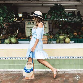 dress hat tumblr mini dress blue dress cut-out summer dress summer outfits shoes mules bag woven bag sun hat