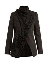 blazer,ruffle,black,jacket