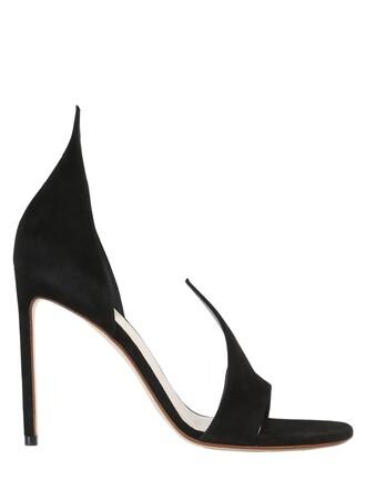open pumps suede black shoes