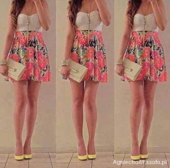 dress strapless dress floral dress