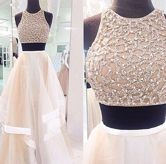 dress white dress white skirt white top white crop tops sparkle dress crop top and skirt formal dress white formal dress two piece dress set