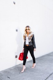 the courtney kerr,blogger,belt,red bag,leather jacket,nude high heels