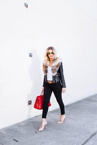 the courtney kerr blogger belt red bag leather jacket nude high heels