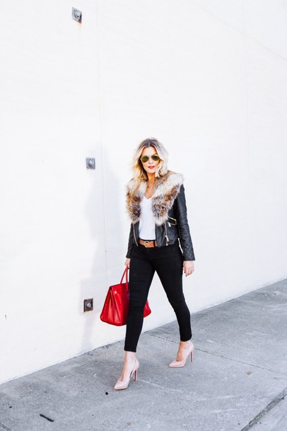 the courtney kerr blogger belt red bag leather jacket nude high heels