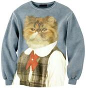 sweater,cats,cats pullover,pullover,grumpy cat,funny cat