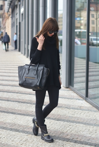 vogue haus blogger sunglasses celine black boots leather bag