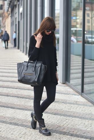 blogger sunglasses vogue haus celine black boots leather bag