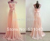 long dress,pink dress,ribbon,chiffon,elegant,floral dress,illusion,prom dress,evening dress,formal dress,bridesmaid,party dress,homecoming dress,gown,dress,peach dress