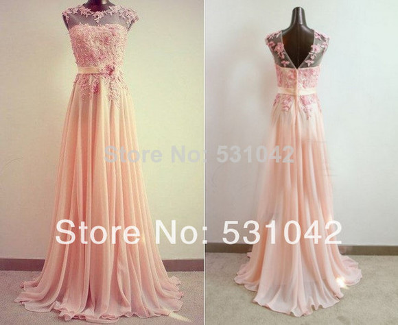 chiffon prom dresses 2014 evening dress formal dresses party dress homecoming dresses illusion long dress pink dresses ribbon elegant flower dress bridesmaid dresses gown