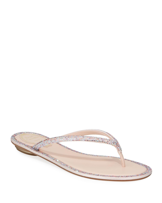 Rene Caovilla Pink Flat Romantic Mix Thong Sandals