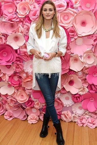 shirt denim olivia palermo blogger fashion week 2016 top feathers
