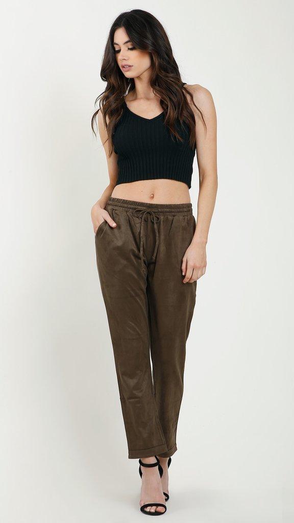 Suede Drawstring Pants