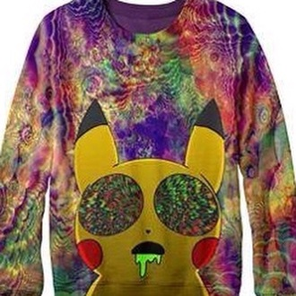 sweater multicolor sweatshirt pikachu
