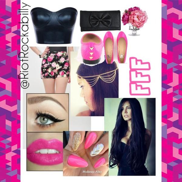 top flats head jewels floral nails bows wallet wallet shorts shoes nail polish