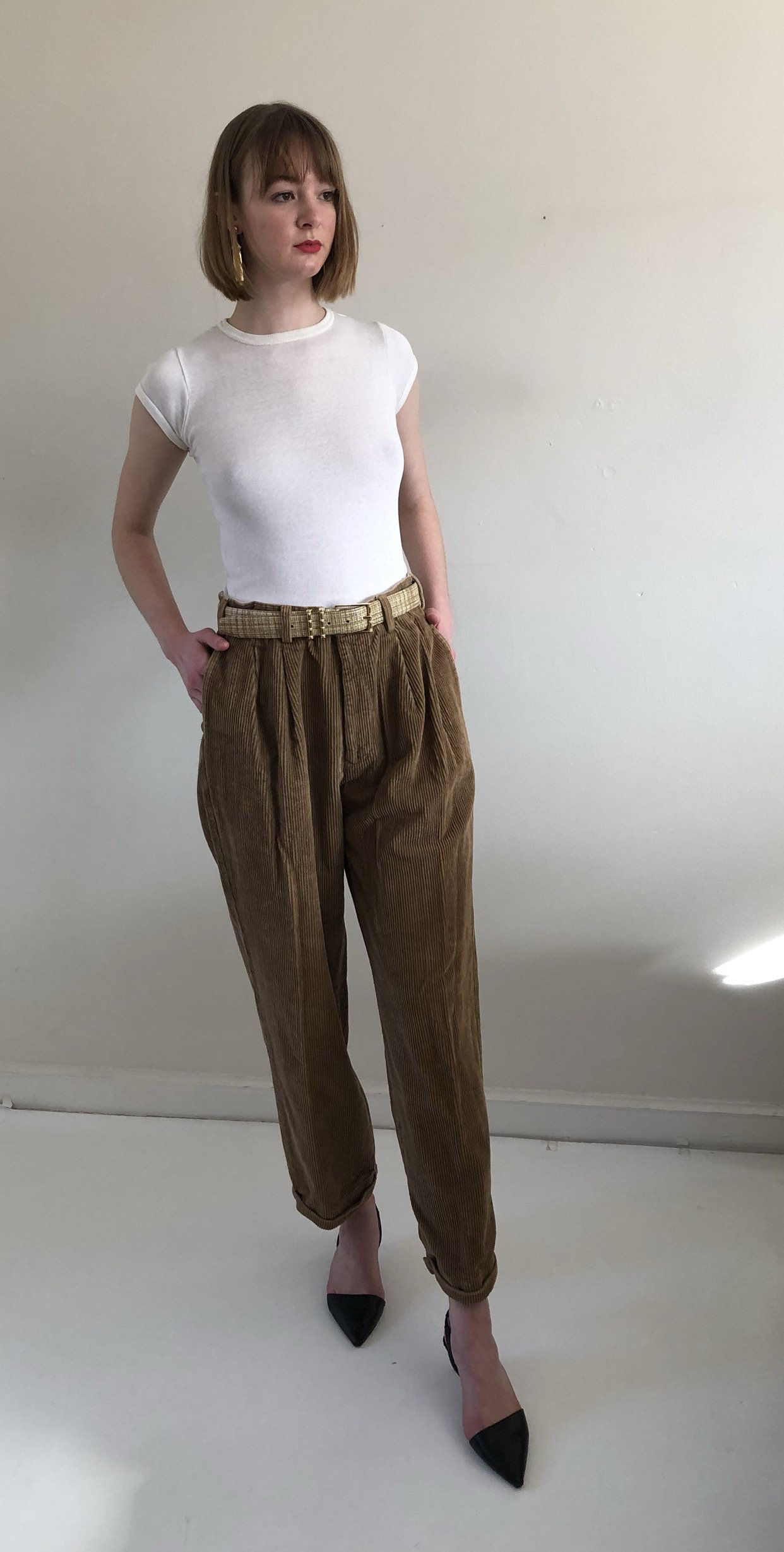 80s corduroy high waisted pants / vintage tobacco pleated baggy corduroy pants / Oleg Cassini caramel cotton wide wale cord pants | 32 W