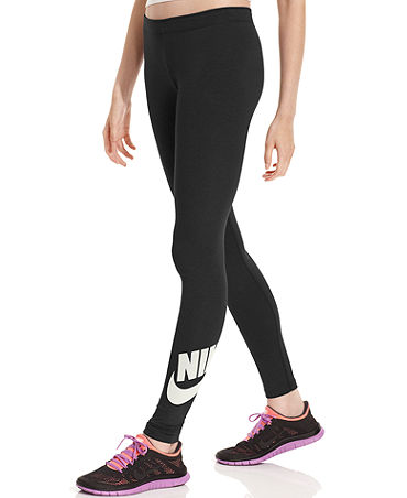 Nike Pants, Leg-A-See Active Logo Leggings - Pants & Capris - Women - Macy's