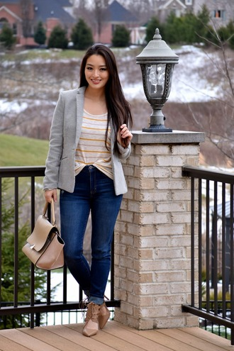 sensible stylista blogger jeans grey blazer grey jacket striped top nude bag nude heels spring outfits
