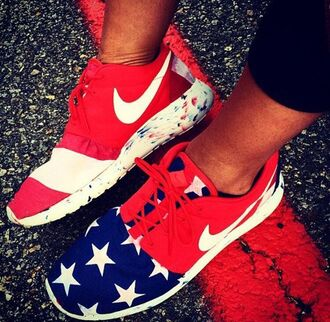 shoes red blue stars born on the fourth of july knit nike roshe run