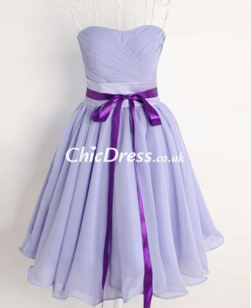 Strapless Chiffon Short Bridesmaid Dress P-3263