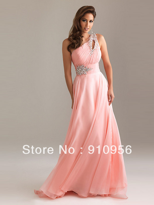 Faironly Pink Ladies Elegant Crystal One Shoulder Silk Chiffon Long Formal Party Prom Gown Bridesmaid Dress 2014 New-in Bridesmaid Dresses from Apparel & Accessories on Aliexpress.com