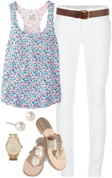 top white jeans floral tank top tank top