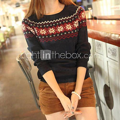 [usd $ 22.74] women's fall wear with snowflake jacquard round collar pullover sweater