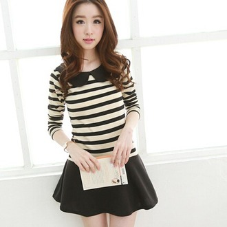 dress casual cute girly fashion style kawaii asian stripes black and white adorable outfit collar