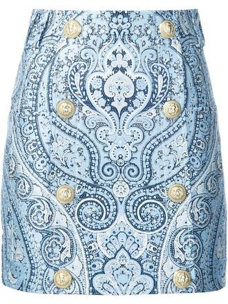 skirt mini skirt mini paisley blue