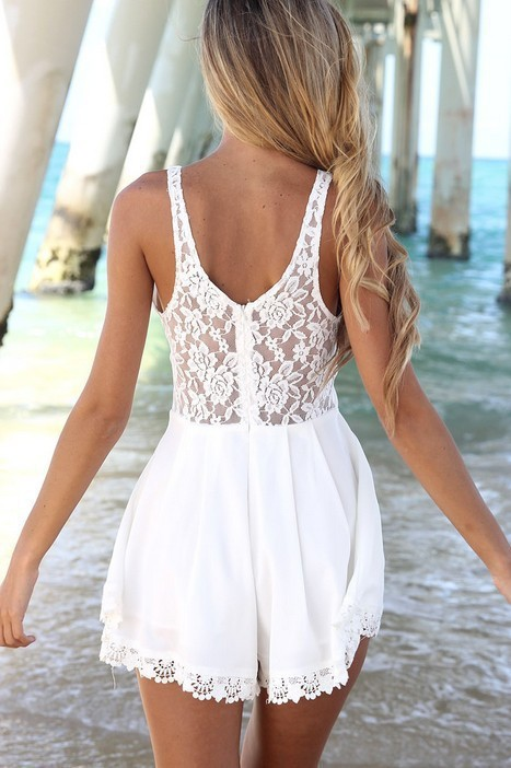 Jumpsuit white lace by dealsforyou