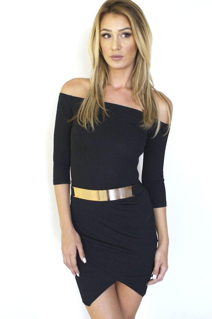 Black Off the Shoulder Wrap Skirt Dress