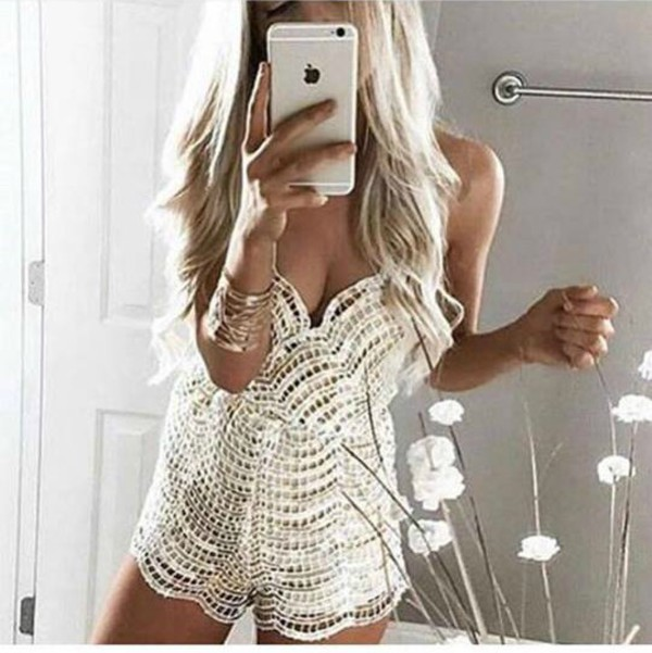 romper lace romper jumpsuit sexy girly wishlist lace fashion toast white romper