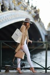 vogue haus,blogger,coat,top,jeans,shoes,bag,hat,jewels,handbag,nude bag,beige coat,felt hat,white jeans,high heel pumps,nude heels,jacket,tumblr,skinny jeans,pumps,pointed toe pumps,camel,camel coat