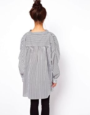 ASOS | ASOS Oversize Smock Shirt in Pinstripe at ASOS