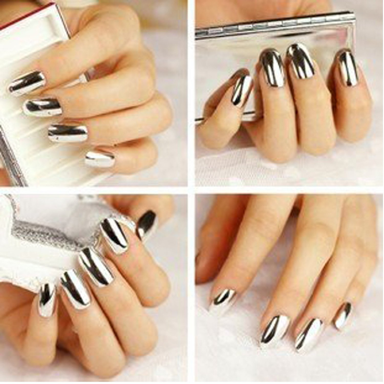 Amazon.com : 2* Fashion Super Star Nail Art Polish Gold and Silver ...