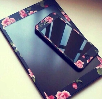phone cover cover iphone 4s ipad black flowers