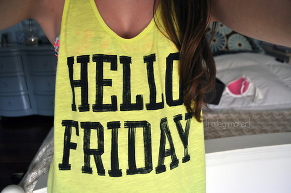 top tank top yellowtop t-shirt yellow hello friday tank top